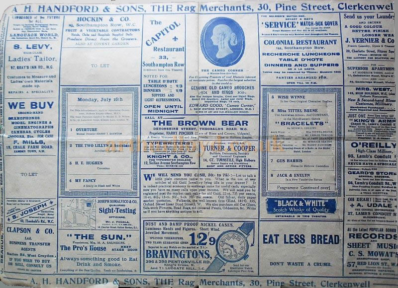 An early 1900s Music Hall programme for the Holborn Empire under the management of Charles Gulliver - Courtesy Roy Cross.