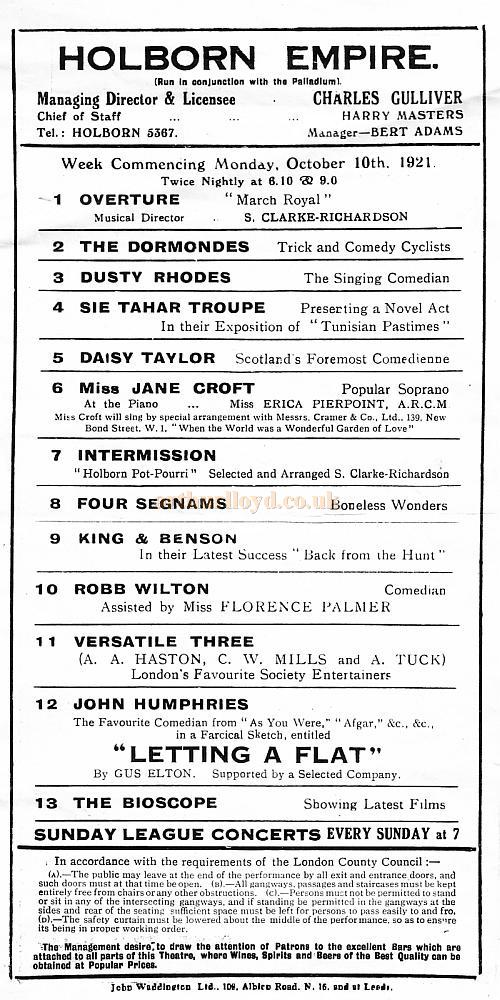 Variety Programme for the Holborn Empire on Monday October the 10th 1921.