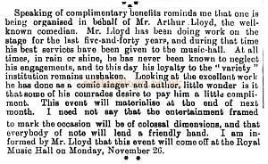 Benefit notice for Arthur Lloyd at the Royal, Holborn - From The Entr'acte of Oct 20th 1900.