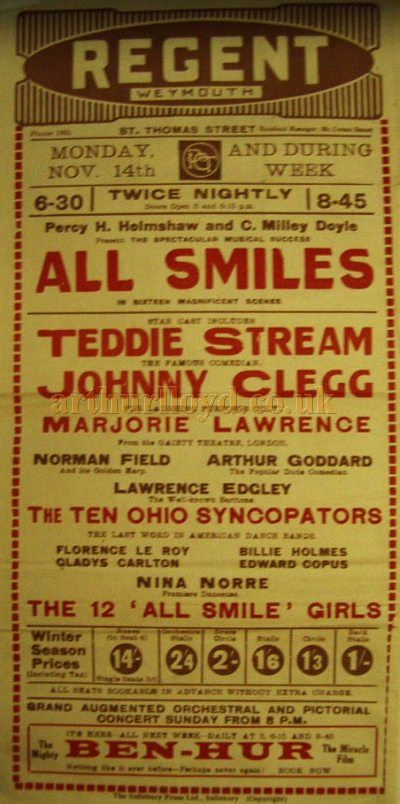 A Twice Nightly Variety Poster entitled 'All Smiles' at the Regent Theatre, Weymouth - Courtesy Stephen Wischhusen.