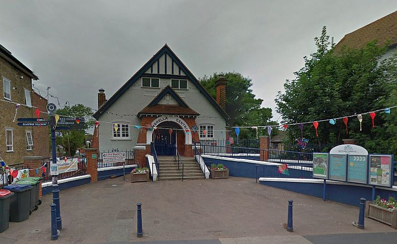 A Google StreetView Image of the former Seasalter Parish Hall, Whistable, today the Umbrella Centre - Click to Interact.