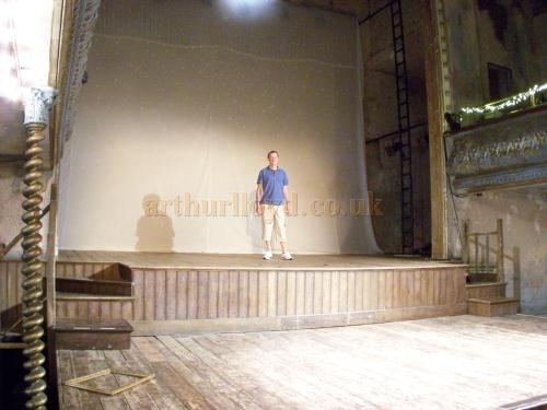 Matthew Lloyd, Great Grandson of Arthur Lloyd, standing on the stage of Wilton's Music Hall in August 2011, some 144 years after the John Wilton Benefit performance by Arthur Lloyd in 1867.