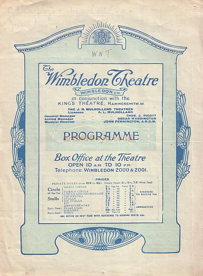 A Programme for Zena Dare in 'The Last of Mrs. Cheyney' at the Wimbledon Theatre on the 23rd of August 1926.