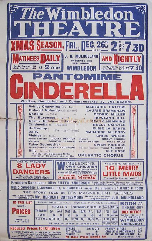 A Poster for the pantomime 'Cinderella' at the Wimbledon Theatre for the Xmas Season beginning on the 26th of December 1924.