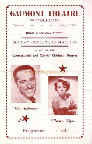 A programme for a Sunday Concert featuring Ray Ellington and Marion Ryan at the Gaumont Theatre, Wimbledon on the 1st of May 1955.