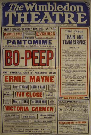 A Poster for 'Bo-Peep' at the Wimbledon Theatre on Boxing Day, December the 26th 1925 - Courtesy Stephen Wischhusen.