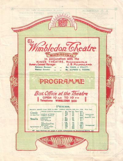 A Programme for 'When Knights Were Bold' at the Wimbledon Theatre on the 5th November 1923