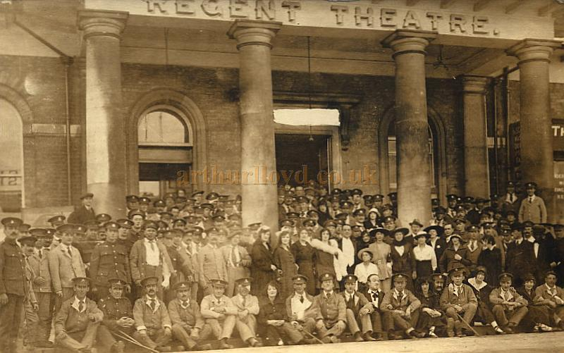 A crowd poses on the steps of the Regent Theatre, Winchester during WW1 - Courtesy Maurice Friedman, The British Music hall Society.