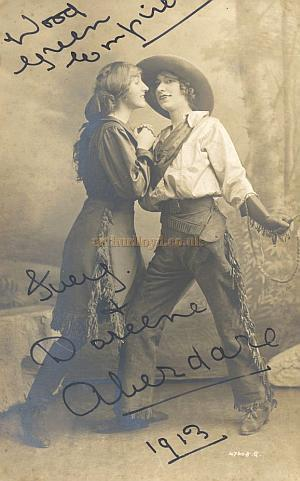 Two 1913 signed Postcards from the Wood Green Empire of The Aberdare Girls, and Clarice Mayne - From the Rose Burlingham collection - Courtesy The estate of Bob Capon.