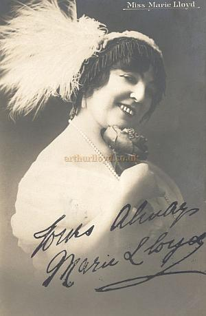 A signed postcard of Miss Marie Lloyd from the Rose Burlingham collection - Courtesy The estate of Bob Capon.