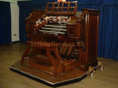 The Wood Green Gaumont's Organ Console which is today located in the Ballroom of the Thorngate Halls, Gosport - Courtesy Peter Buckles.