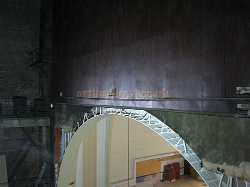 The Safety Curtain, now locked into place above the Proscenium of the former Gaumont Palace, Wood Green, during renovation work in 2009 - Courtesy Christian Drewett.