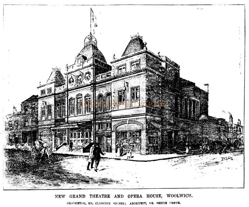 A Sketch of the New Grand Theatre and Opera House, Woolwich - From the ERA, 20th of October 1900 - To see more of these Sketches click here.