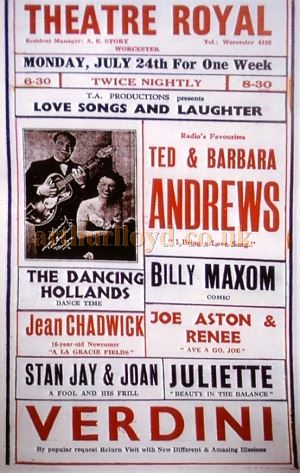 A Variety Poster for the Theatre Royal, Worcester - Courtesy Roy Cross.