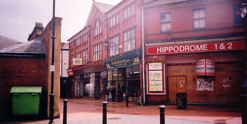 The Wrexham Hippodrome in June 2002 with 'Closed' and 'For Sale' notices plastered on its walls - Photo Paul Hamblet 02