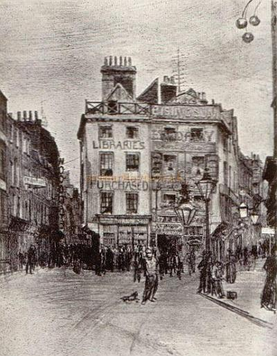 Holywell Street from St. Clement Danes Church, Strand: Drawn by F. C. Emanuel from a 'Disappearing London' Postcard.