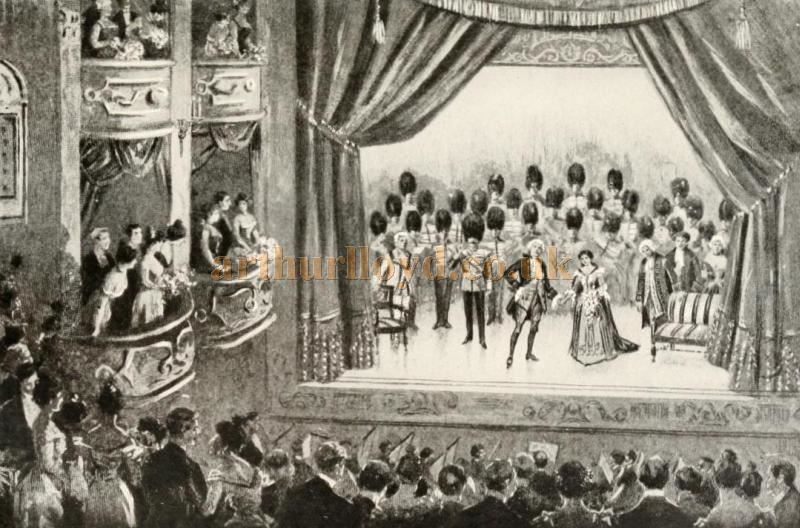 The Opening Night production of 'David Garrick' at Wyndham's Theatre on the 16th of November 1899. Here the National Anthem is being played by the Guard's Band as the Curtain is Falling - From the biography of Charles Wyndham by T. Edgar Pemberton, published in 1904