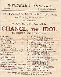 Programme for 'Chance, The Idol' at the Wyndham's Theatre September 9th 1902.