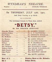 Programme for 'Betsy' at the Wyndham's Theatre July 17th 1902.
