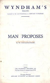 Programme for 'Man Proposes' at the Wyndham's Theatre November 29th 1933.