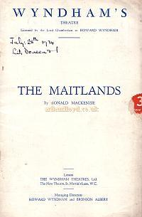 Programme for 'The Maitlands' at the Wyndham's Theatre November 29th 1933 which was the second and sadly the last play by Ronald Mackenzie.
