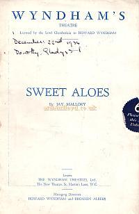 Programme for 'Sweet Aloes' at the Wyndham's Theatre 1934 running for 476 performance.