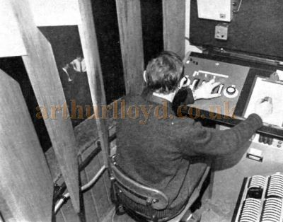 Ronald Nicholson at the controls of the Strand Electric System LP Board of the Theatre Royal, York in the 1960s - Courtesy Ronald Nicholson.