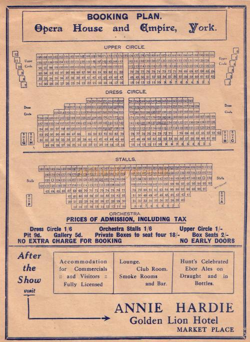 Seating Plan for The Opera House and Empire, York from a Variety Programme for the Theatre in 1934
