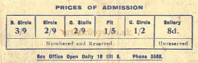 Seat Prices at the Theatre Royal, York in 1949