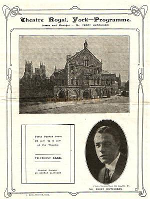 Programme for 'Tilly of Bloomsbury' at the Theatre Royal, York in 1926.