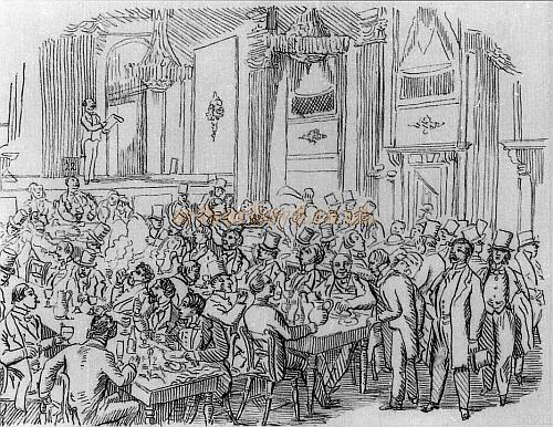 A sketch which gives some idea of what Evans's was like, the person on stage - apparently number 22 on the bill - is struggling to hold the attention of an audience heavily engaged in eating, drinking and talking. From 'Lost Empires: the phenomenon of theatres past, present and future' by Nigel Fountain.